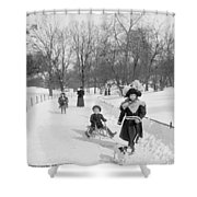 Central Park In New York Shower Curtain by Anonymous