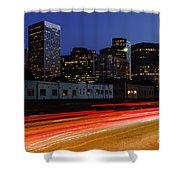 Century City Skyline At Night Shower Curtain by Paul Velgos