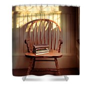 Chair And Lace Shadows Shower Curtain by Jill Battaglia