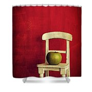 Chair Apple Red Still Life Shower Curtain by Edward Fielding