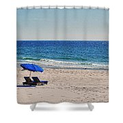 Chairs On The Beach With Umbrella Shower Curtain by Michael Thomas