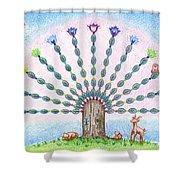Chakra Tree Shower Curtain by Keiko Katsuta