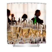 Champagne Glasses At The Party Shower Curtain by Michal Bednarek