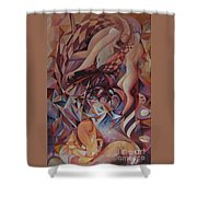 Chaos Management Or Adolf And Eva Shower Curtain by Mikhail Savchenko