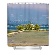 Chapel On Small Island In Posedarje Shower Curtain by Brch Photography