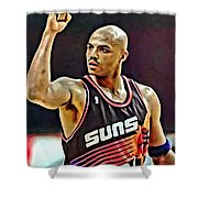 Charles Barkley Shower Curtain by Florian Rodarte