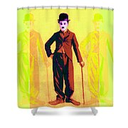 Charlie Chaplin The Tramp Three 20130216p30 Shower Curtain by Wingsdomain Art and Photography