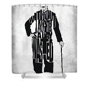 Charlie Chaplin Typography Poster Shower Curtain by Ayse Deniz