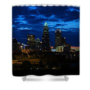 Charlotte North Carolina Panoramic Image Shower Curtain by Chris Flees