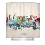 Charlotte Painted City Skyline Shower Curtain by World Art Prints And Designs