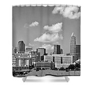 Charlotte Skyline In Black And White Shower Curtain by Jill Lang