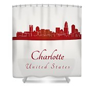 Charlotte Skyline In Red Shower Curtain by Pablo Romero