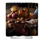 Chef - Food - A tribute to Rembrandt - Apples and Rolls  Shower Curtain by Mike Savad