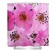 Cherry Blossoms - Flowers So Pink Shower Curtain by Sharon Cummings