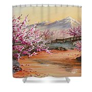 Cherry Blossoms In The Mist Shower Curtain by Joe Mandrick