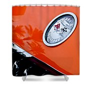 Chevrolet Corvette Hood Emblem Shower Curtain by Jill Reger