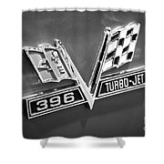 Chevy 396 Turbo-jet Emblem Black And White Picture Shower Curtain by Paul Velgos