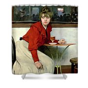 Chica In A Bar Shower Curtain by Ramon Casas i Carbo