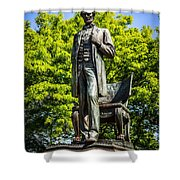 Chicago Abraham Lincoln The Man Standing Statue  Shower Curtain by Paul Velgos