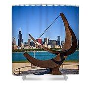 Chicago Adler Planetarium Sundial And Chicago Skyline Shower Curtain by Paul Velgos