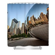 Chicago Bean Cloud Gate Sculpture Reflection Shower Curtain by Paul Velgos