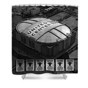Chicago Bulls Banners In Black and White Shower Curtain by Thomas Woolworth