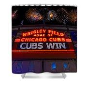 Chicago Cubs Win Fireworks Night Shower Curtain by Steve Gadomski
