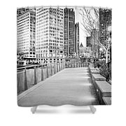 Chicago Downtown City Riverwalk Shower Curtain by Paul Velgos