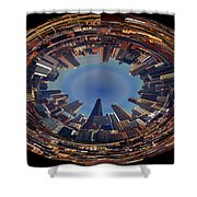 Chicago Looking East Polar View Shower Curtain by Thomas Woolworth
