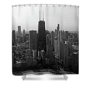 Chicago Looking South 01 Black And White Shower Curtain by Thomas Woolworth