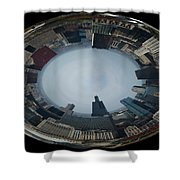 Chicago Looking West Polar View Shower Curtain by Thomas Woolworth