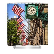 Chicago Macy's Clock And Chicago Theatre Sign Shower Curtain by Paul Velgos