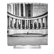 Chicago Millennium Monument In Black And White Shower Curtain by Paul Velgos