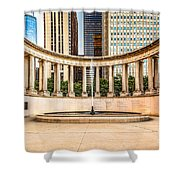 Chicago Millennium Monument In Wrigley Square Shower Curtain by Paul Velgos