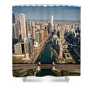 Chicago River Aloft Shower Curtain by Steve Gadomski