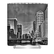 Chicago River In Black And White Shower Curtain by Sebastian Musial
