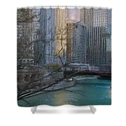 Chicago River Sunset Shower Curtain by Jeff Kolker