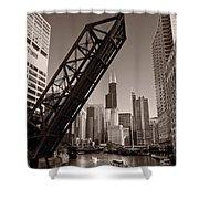 Chicago River Traffic BW Shower Curtain by Steve Gadomski