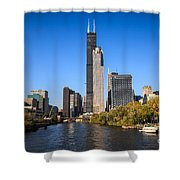 Chicago River With Willis-sears Tower Shower Curtain by Paul Velgos