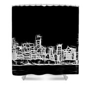 Chicago Skyline Fractal Black And White Shower Curtain by Adam Romanowicz