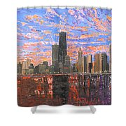 Chicago Skyline - Lake Michigan Shower Curtain by Mike Rabe