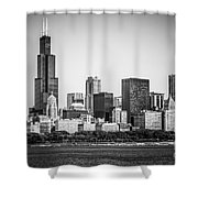 Chicago Skyline With Sears Tower In Black And White Shower Curtain by Paul Velgos
