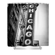 Chicago Theatre Sign in Black and White Shower Curtain by Paul Velgos