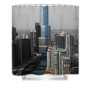 Chicago Trump Tower Blue Selective Coloring Shower Curtain by Thomas Woolworth