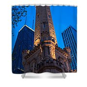 Chicago Water Tower Panorama Shower Curtain by Steve Gadomski