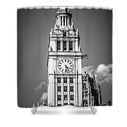 Chicago Wrigley Building Clock Black And White Picture Shower Curtain by Paul Velgos