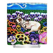 Chihuahua In Flowers Shower Curtain by Genevieve Esson
