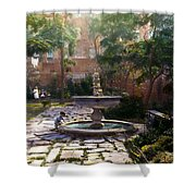 Child And Fountain Shower Curtain by Terry Reynoldson