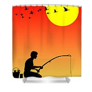 Childhood Dreams 3 Fishing Shower Curtain by John Edwards