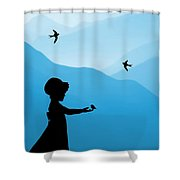 Childhood dreams 5 Feeding Time Shower Curtain by John Edwards